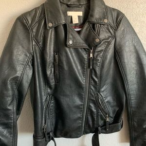 H&M Faux leather motto jacket